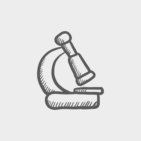 article icon: Microscope sketch icon for web and mobile. Hand drawn vector dark grey icon on light grey background.