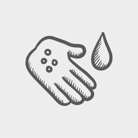 wound: Wash the wound with water sketch icon for web and mobile. Hand drawn vector dark grey icon on light grey background. Illustration