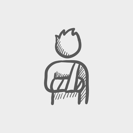 Injured man with bandages sketch icon for web and mobile. Hand drawn vector dark grey icon on light grey background.