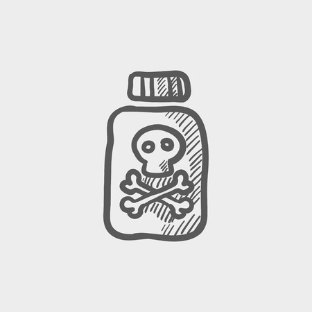 poison bottle: Bottle of poison sketch icon for web and mobile. Hand drawn vector dark grey icon on light grey background. Illustration