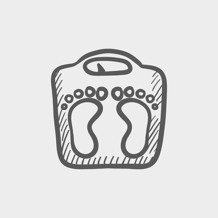 grey scale: Weighing scale sketch icon for web and mobile. Hand drawn vector dark grey icon on light grey background.