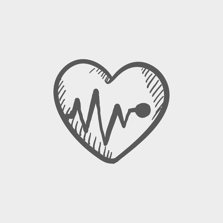 heart monitor: Heart with cardiogram sketch icon for web and mobile. Hand drawn vector dark grey icon on light grey background.