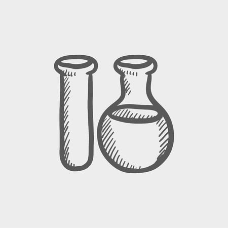 Icono de boceto para tubos de ensayo para web y móvil. Mano vector dibujado icono gris oscuro sobre fondo gris claro. Foto de archivo - 42979097