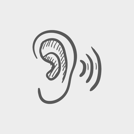 amplify: Ear sketch icon for web and mobile. Hand drawn vector dark grey icon on light grey background. Illustration