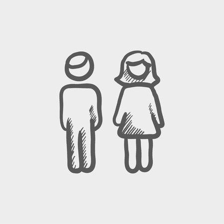 Male and female couple sketch icon for web and mobile. Hand drawn vector dark grey icon on light grey background. Ilustrace