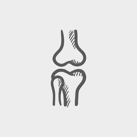 bursa: Knee joint sketch icon for web and mobile. Hand drawn vector dark grey icon on light grey background.