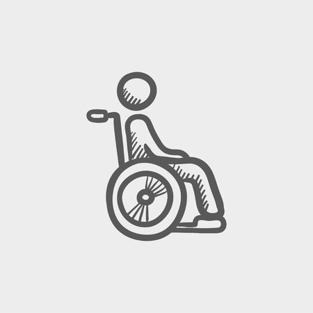 disability: Disabled person sketch icon for web and mobile. Hand drawn vector dark grey icon on light grey background.