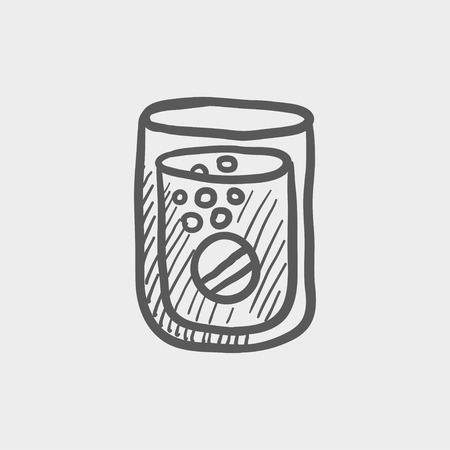 Tablet into a glass of water sketch icon for web and mobile. Hand drawn vector dark grey icon on light grey background.