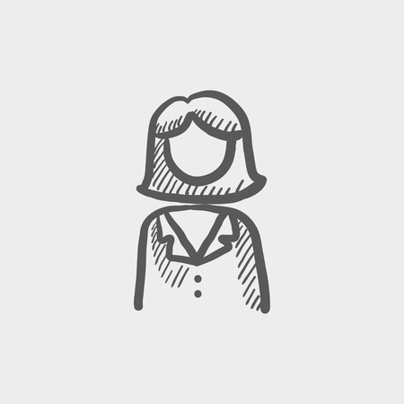 womanliness: Female doctor sketch icon for web and mobile. Hand drawn vector dark grey icon on light grey background.