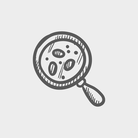 Microorganism under magnifier sketch icon for web and mobile. Hand drawn vector dark grey icon on light grey background. Illustration