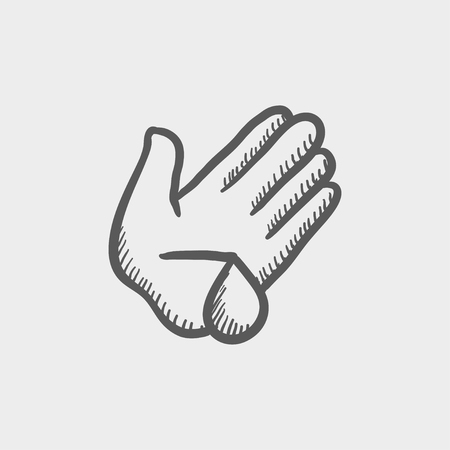tip style design: Wash wounded palm with water sketch icon for web and mobile. Hand drawn vector dark grey icon on light grey background.