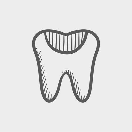 diente caries: Icono de boceto caries dental para web y m�vil. Mano vector dibujado icono gris oscuro sobre fondo gris claro. Vectores