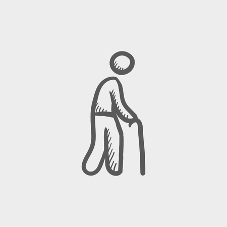 bariatric: Man with cane sketch icon for web and mobile. Hand drawn vector dark grey icon on light grey background.