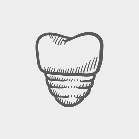 implanted: Tooth implant sketch icon for web and mobile. Hand drawn vector dark grey icon on light grey background.