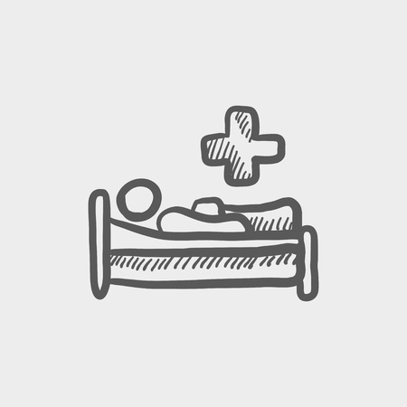 Medical bed with patient sketch icon for web and mobile. Hand drawn vector dark grey icon on light grey background.