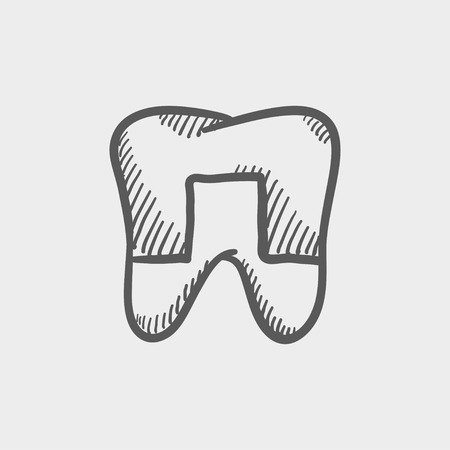 grinder: Crowned tooth sketch icon for web and mobile. Hand drawn vector dark grey icon on light grey background.