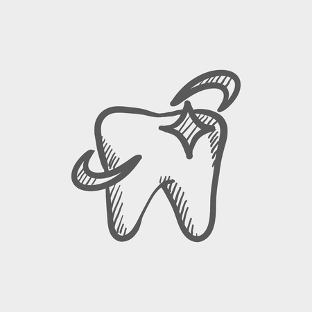 Shining tooth sketch icon for web and mobile. Hand drawn vector dark grey icon on light grey background.