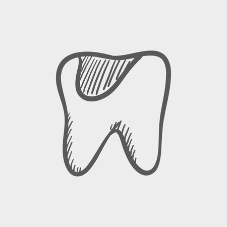 decay: Tooth decay sketch icon for web and mobile. Hand drawn vector dark grey icon on light grey background.