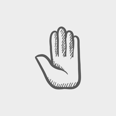 raise the thumb: Hand sketch icon for web and mobile. Hand drawn vector dark grey icon on light grey background.
