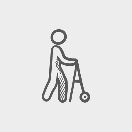 infirm: Disabled person with walking sketch icon for web and mobile. Hand drawn vector dark grey icon on light grey background.