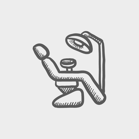 sillon dental: Dental icono de boceto silla para web y m�vil. Mano vector dibujado icono gris oscuro sobre fondo gris claro.