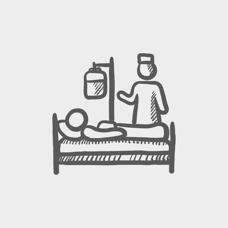 girl lying down: Nurse attending a sick patient sketch icon for web and mobile. Hand drawn vector dark grey icon on light grey background. Illustration