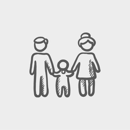 웹과 모바일을위한 가족 스케치 아이콘입니다. 밝은 회색 배경에 손으로 그린 벡터 어두운 회색 아이콘입니다.