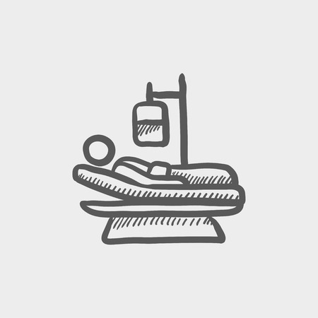 sickbed: Patient is lying in medical bed sketch icon for web and mobile. Hand drawn vector dark grey icon on light grey background.