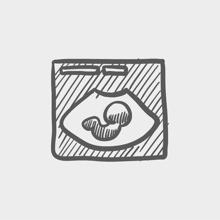 Fetal icono de boceto de ultrasonido para web y móvil. Mano vector dibujado icono gris oscuro sobre fondo gris claro. Foto de archivo - 42979216