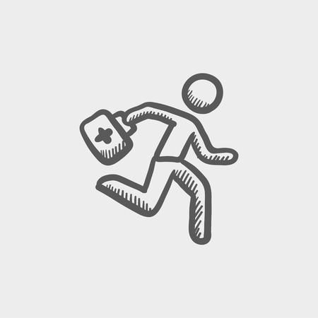 paramedic: Paramedic running with first aid kit sketch icon for web and mobile. Hand drawn vector dark grey icon on light grey background.