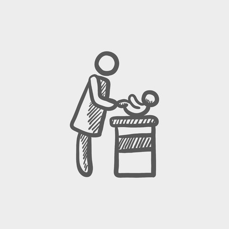 Woman changing babys diaper sketch icon for web and mobile. Hand drawn vector dark grey icon on light grey background.