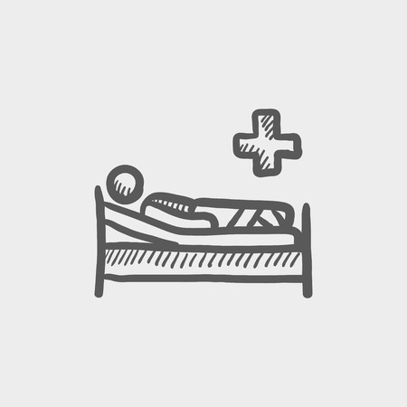 Patient is lying in medical bed sketch icon for web and mobile. Hand drawn vector dark grey icon on light grey background.