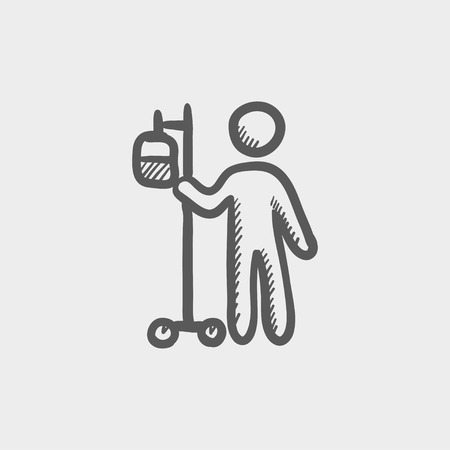 saline: Patient standing with entravenous saline solution sketch icon for web and mobile. Hand drawn vector dark grey icon on light grey background.