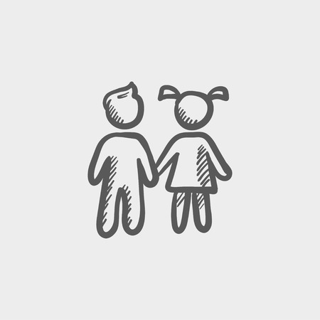siblings: Little siblings sketch icon for web and mobile. Hand drawn vector dark grey icon on light grey background.