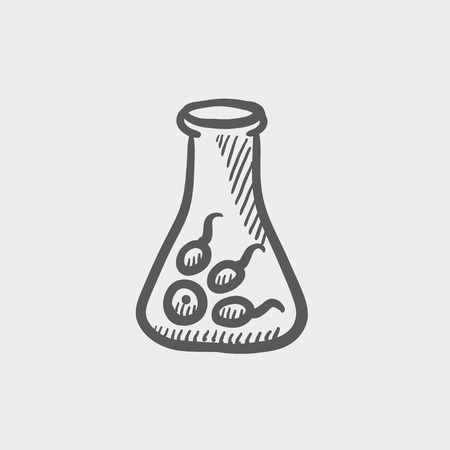 virus cell: Chemical bottle with virus and bacteria sketch icon for web and mobile. Hand drawn vector dark grey icon on light grey background.