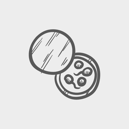 bacteria microscope: Petri dish with bacteria sketch icon for web and mobile. Hand drawn vector dark grey icon on light grey background. Illustration