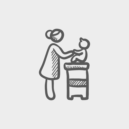 high chair: Mother taking care of the baby sitting on a high chair sketch icon for web and mobile. Hand drawn vector dark grey icon on light grey background. Illustration