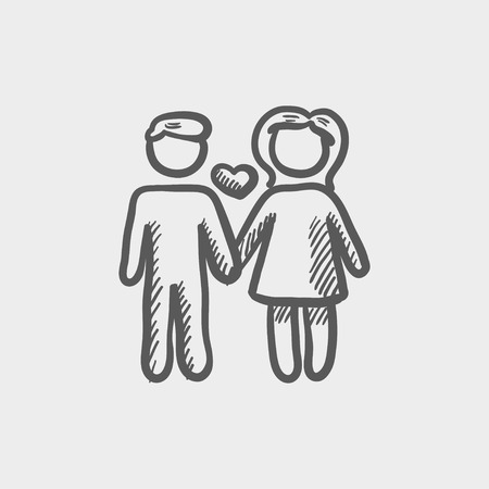 dinner date: Loving couple sketch icon for web and mobile. Hand drawn vector dark grey icon on light grey background.