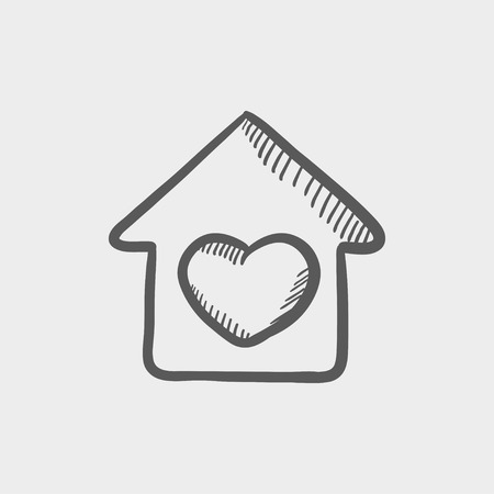 Contoured house sketch icon for web and mobile. Hand drawn vector dark grey icon on light grey background.