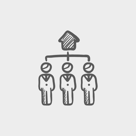 Three agent in one house sketch icon for web and mobile. Hand drawn vector dark grey icon on light grey background. Illustration