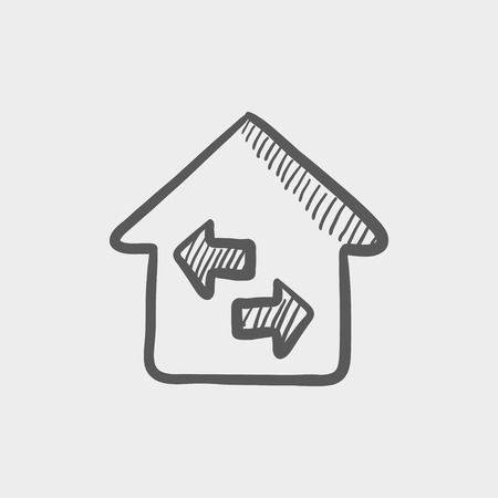 House with left and right arrow sketch icon for web and mobile. Hand drawn vector dark grey icon on light grey background.