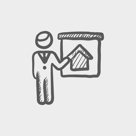 sociologist: Real estate agent training sketch icon for web and mobile. Hand drawn vector dark grey icon on light grey background.