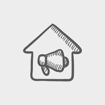 incendio casa: Fuego de la casa icono de boceto de alarma para web y m�vil. Mano vector dibujado icono gris oscuro sobre fondo gris claro.