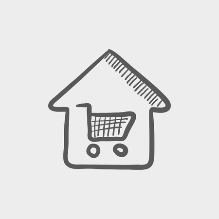 house shopping: House shopping sketch icon for web and mobile. Hand drawn vector dark grey icon on light grey background.