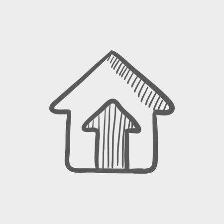doorknob: House entrance sketch icon for web and mobile. Hand drawn vector dark grey icon on light grey background.