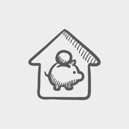 energy balance: House savings sketch icon for web and mobile. Hand drawn vector dark grey icon on light grey background.