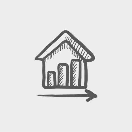 real estate growth: Graph of financial real estate growth sketch icon for web and mobile. Hand drawn vector dark grey icon on light grey background.