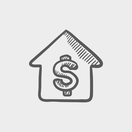 house mortgage: HOuse mortgage sketch icon for web and mobile. Hand drawn vector dark grey icon on light grey background.