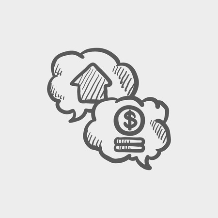 Housing bank finance sketch icon for web and mobile. Hand drawn vector dark grey icon on light grey background.