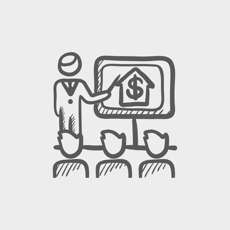 valuation: Real estate agent seminar sketch icon for web and mobile. Hand drawn vector dark grey icon on light grey background.